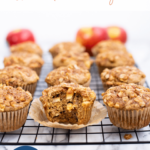 healthy apple muffins on cooling rack