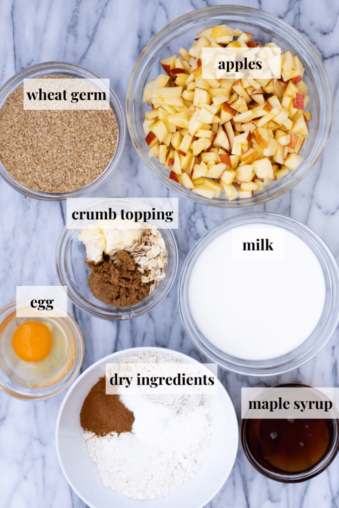 Ingredients to make recipe for apple muffins