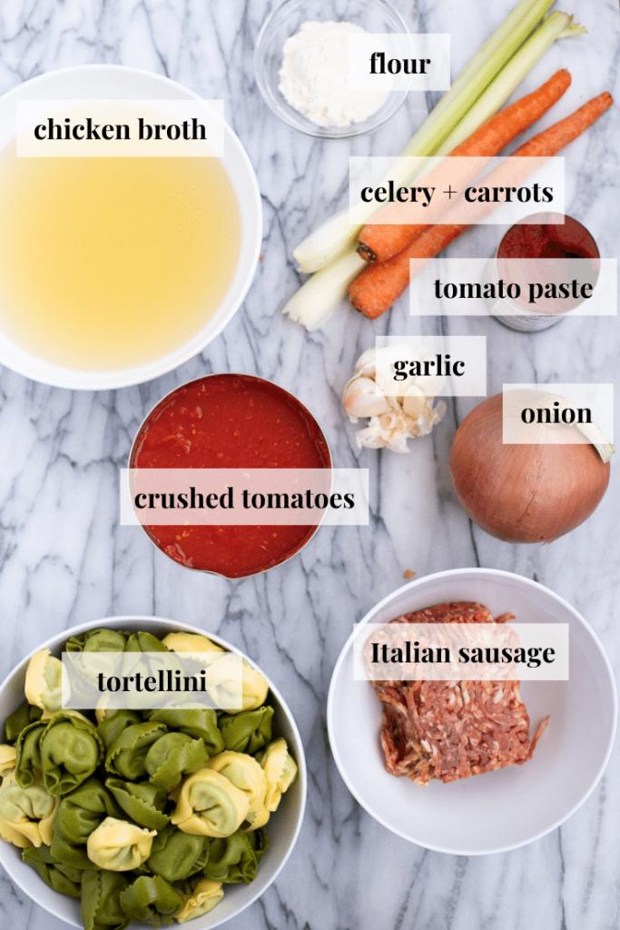 Ingredients to make tortellini soup Italian sausage