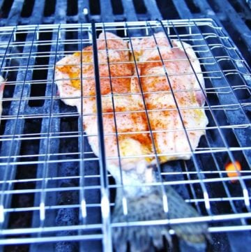 lake trout in grill basket