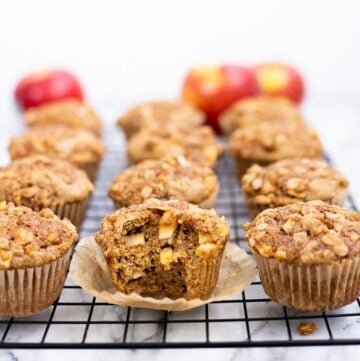 Healthy apple muffins on baking rack