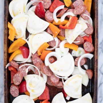 sheet pan with pierogies and kielbasa