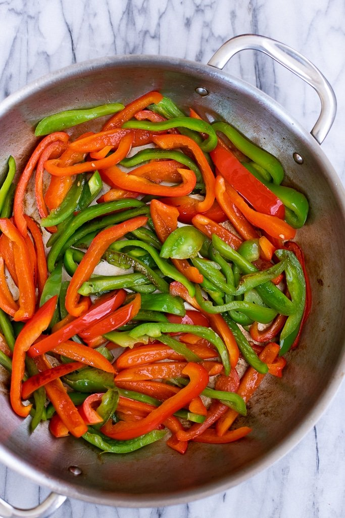 Peppers in skillet for pepper steak stir fry