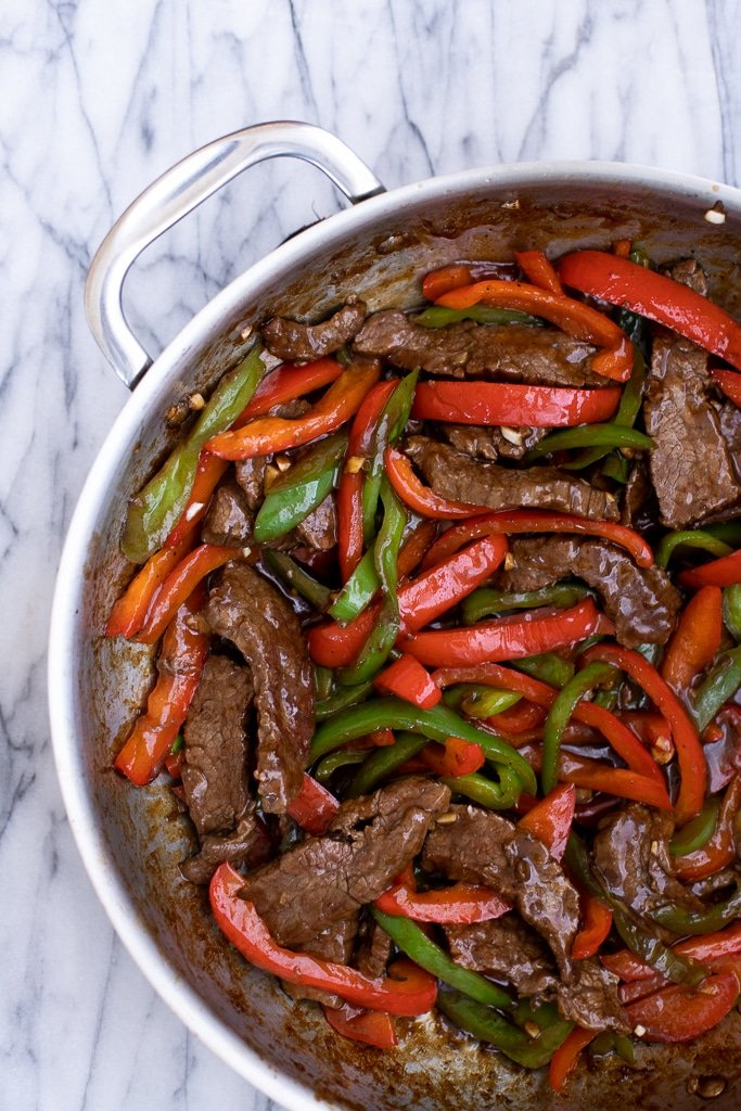 pepper steak stir fry in large skillet