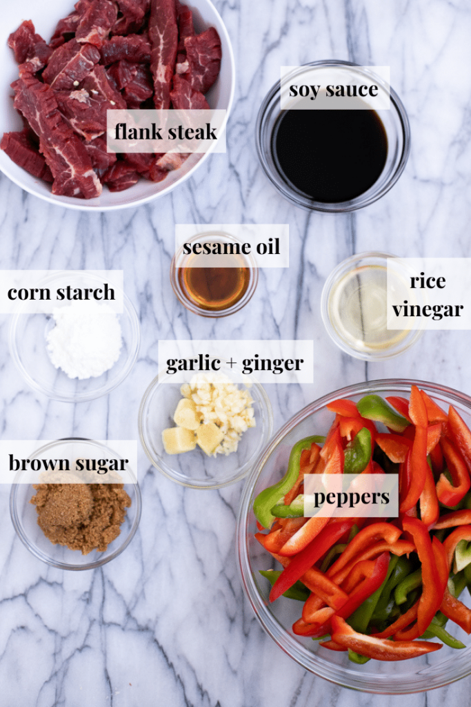 Ingredients to make pepper steak stir fry