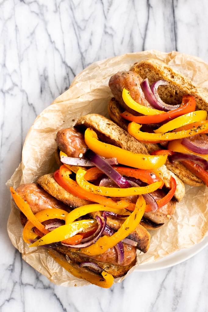 Hoagie rolls with sheet pan sausage and peppers