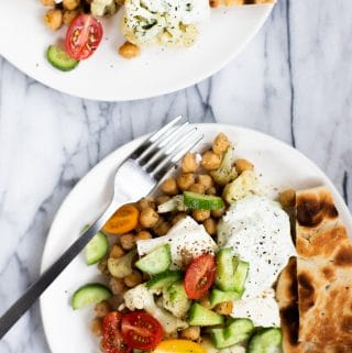 chickpea dinner recipe with fresh tomatoes and cucumbers