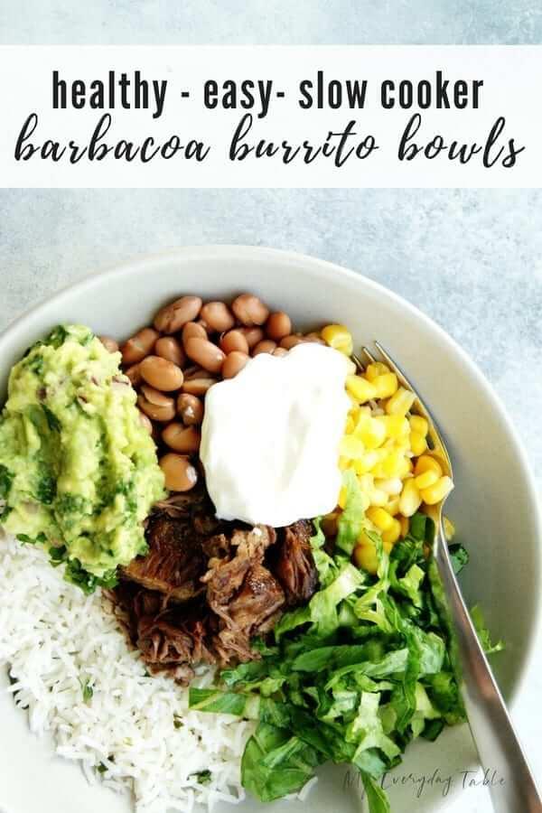 slow cooker barbacoa burrito bowls