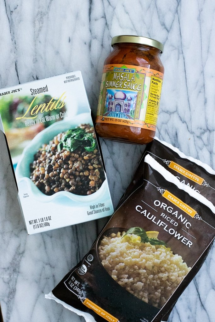 ingredients for trader joe's steamed lentils with masala sauce