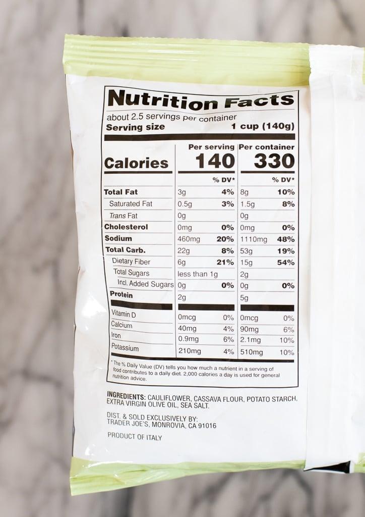 Trader Joe's cauliflower gnocchi nutrition facts