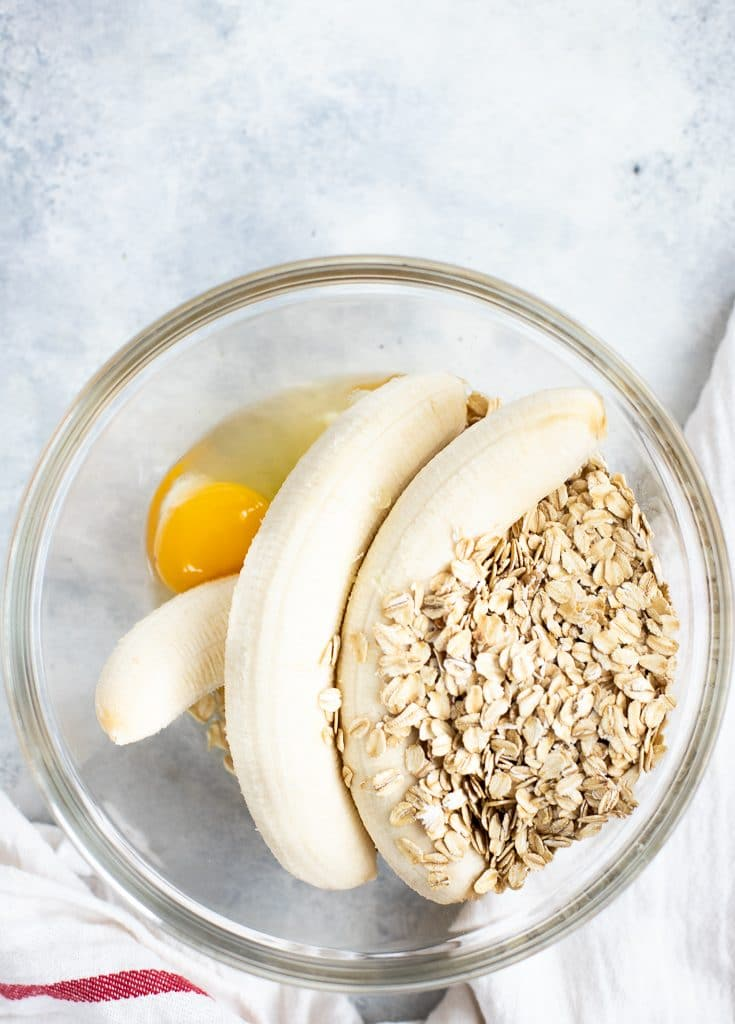 banana oat pancakes ready to be mixed