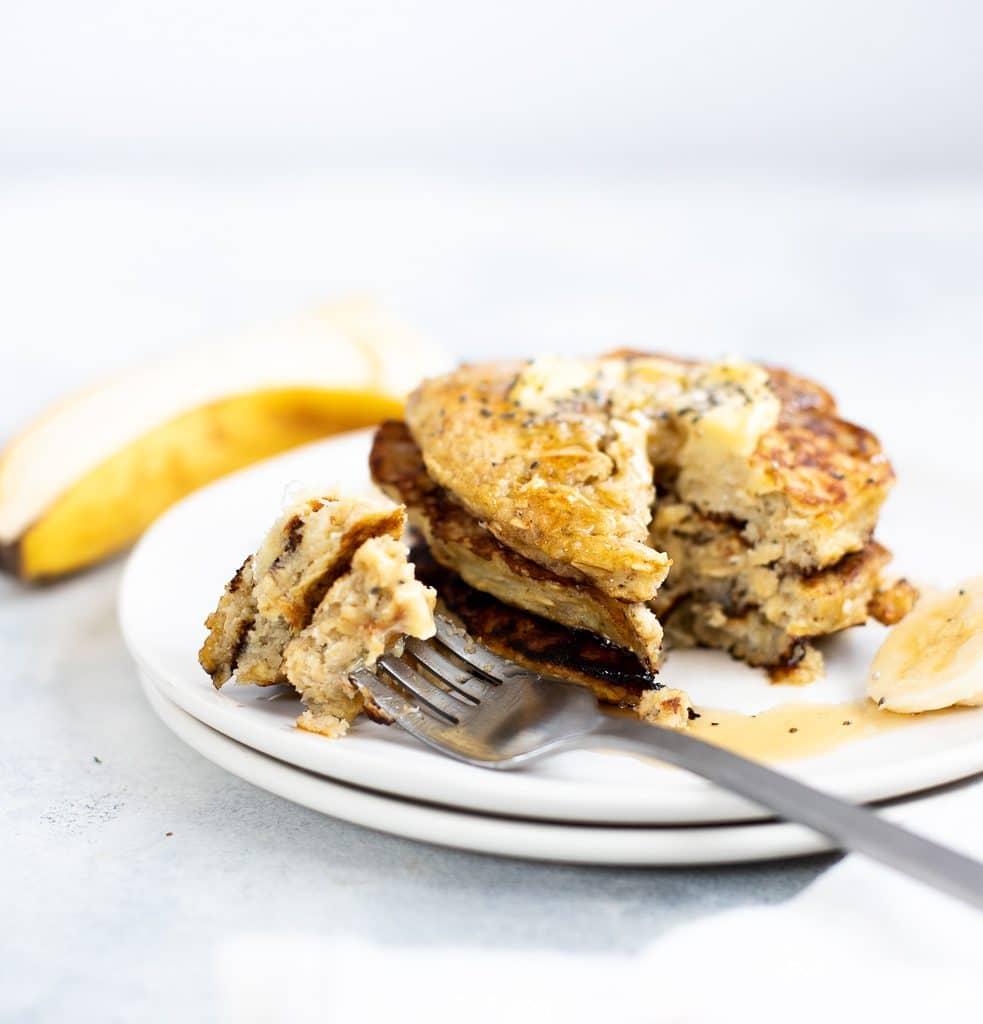 stack of healthy banana pancakes