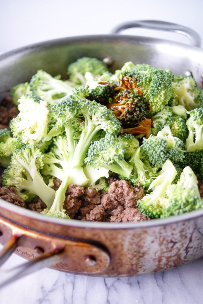skilllet with beef and broccoli stir fry