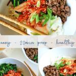Easy Bibimbap Bowls - Korean - authentic - pinterest