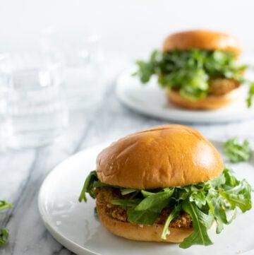 Pork tenderloin sandwich on a plate