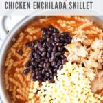 pasta, chicken, beans, corn in skillet - pinterest