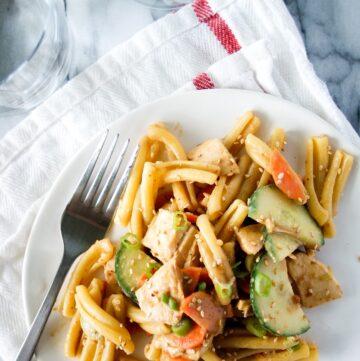 Chicken peanut pasta salad on a plate