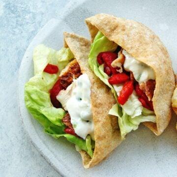 chicken pitas with yogurt sauce and veggies
