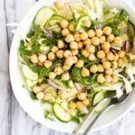 bowl with simple chickpea chopped salad