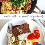 Creamy scrambled eggs with sour cream