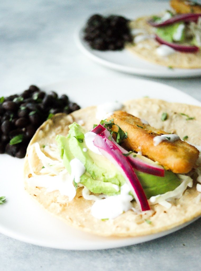 Easy fish tacos on a plate