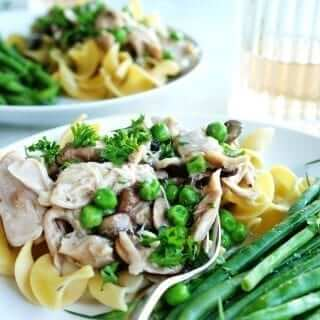Easy slow cooker chicken stroganoff takes minutes to prepare and is a healthy, satisfying meal.