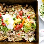 Baking pan with loaded Greek fries