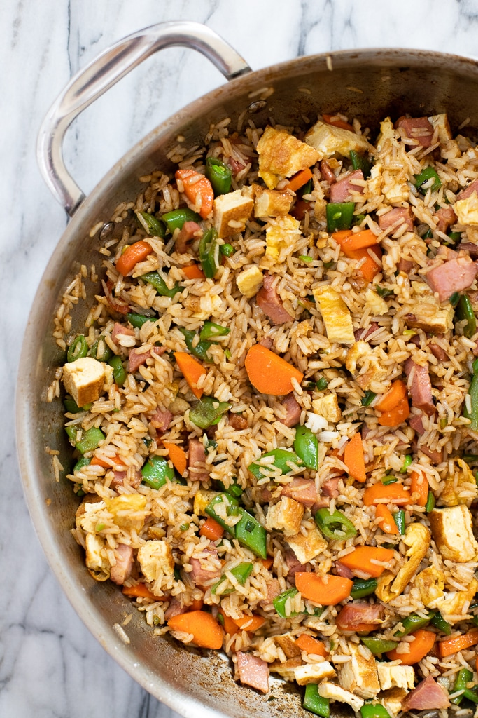 Easy ham fried rice in a skillet