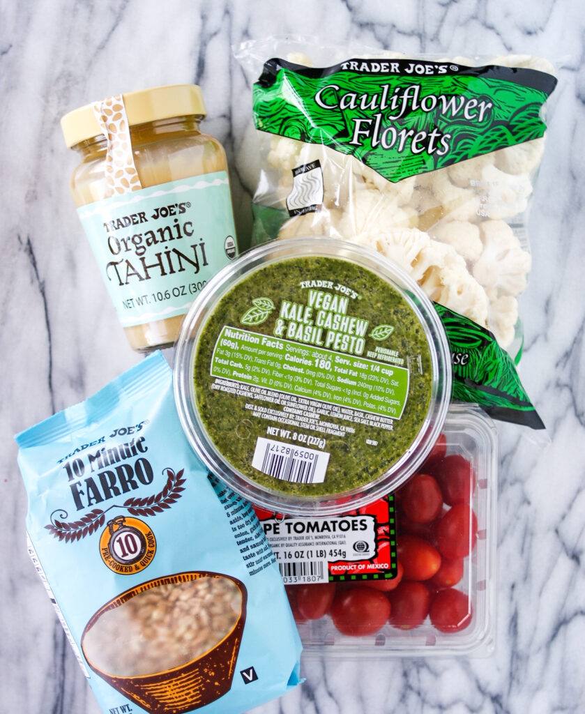 Ingredients to make farro grain bowl recipe