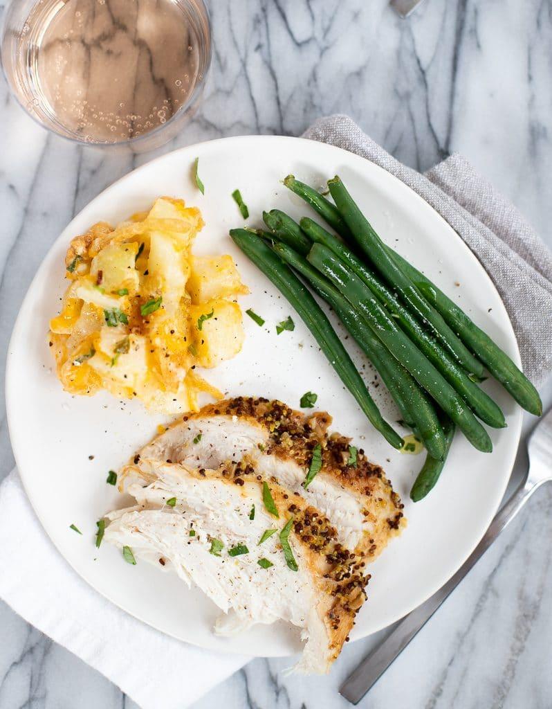 plate of turkey breast dinner meal