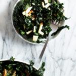 Kale apple slaw on a plate wtih fork
