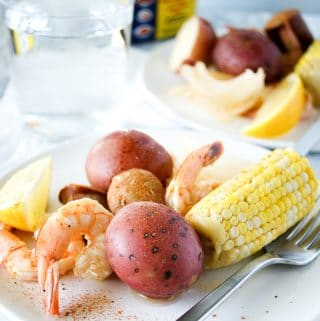 plate with low country shrimp boil and old bay