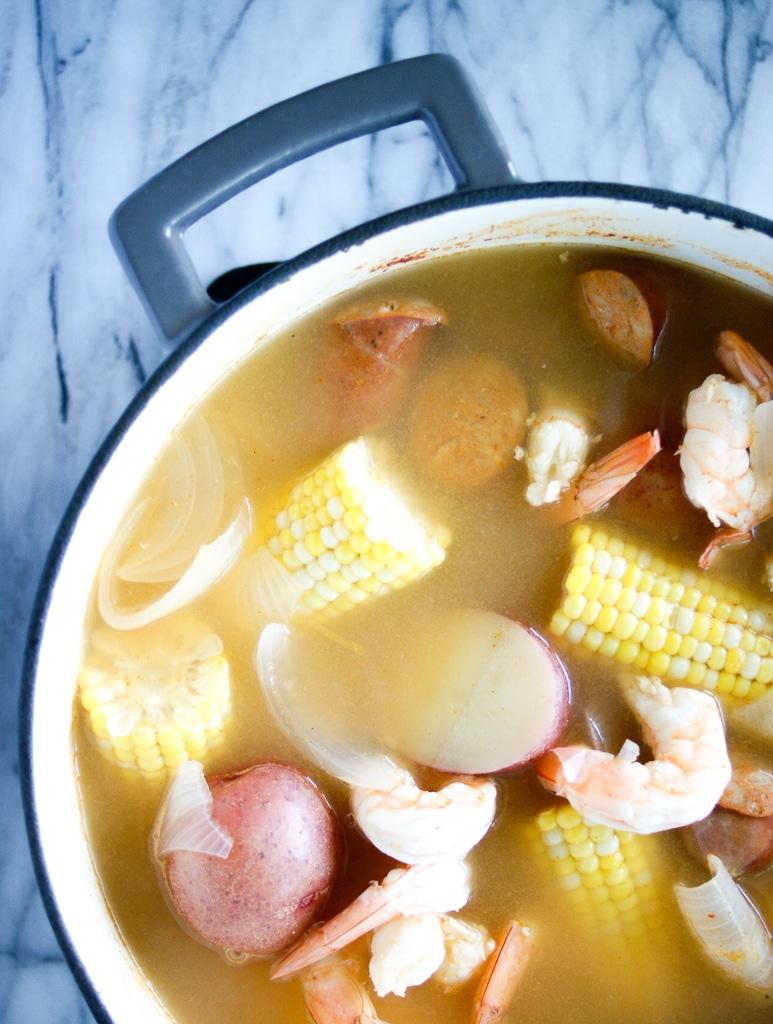 Old bay shrimp boil in a pot