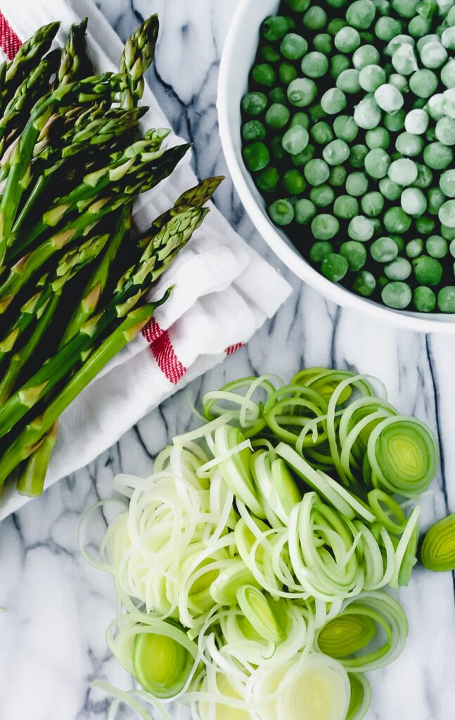 Ingredients to make pasta with spring vegetables