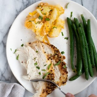 plate of turkey breast meal