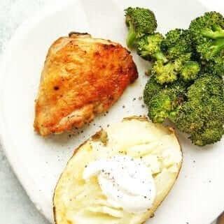 roasted chicken thighs dinner