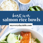 Ingredients and salmon rice bowls - pinterest