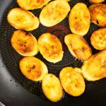 Sauteed plantains in a skillet