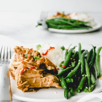 Plate with slow cooker Asian pork on a plate