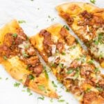 Easy butter chicken pizza in 3 slices