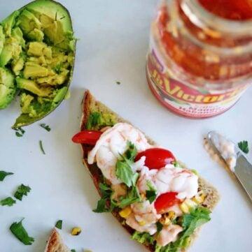 Spicy Shrimp & Avocado Tartine   anutritionisteats.com