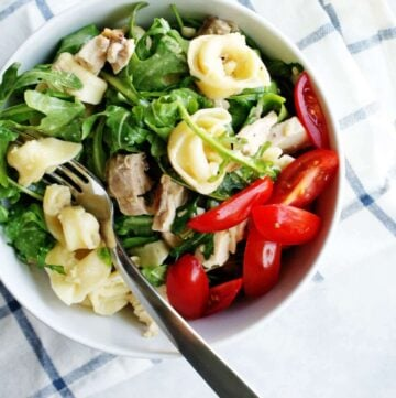 Tortellini, Chicken & Arugula Salad | Add this easy dinner to your summer meal rotation, it's perfect for dining al fresco!